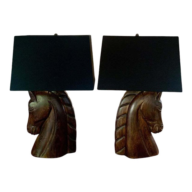 Mid 20th Century William Billy Haines Horse Head Lamps - a Pair For Sale
