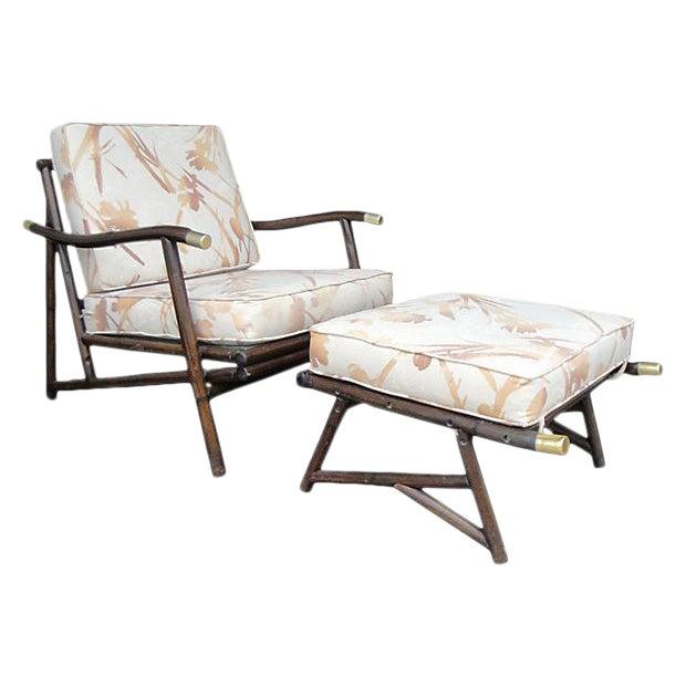 Mid Century Style Bamboo Armchair & Ottoman For Sale