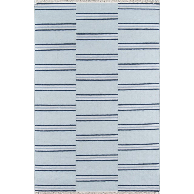 "Erin Gates Thompson Union Light Blue Hand Woven Wool Area Rug 7'6"" X 9'6"" For Sale - Image 4 of 4"