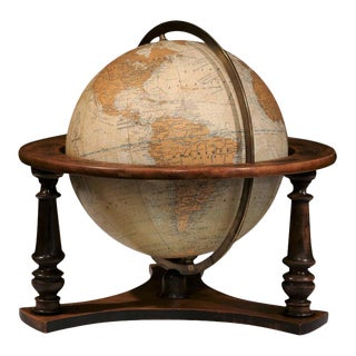 French Globe on Walnut Base For Sale