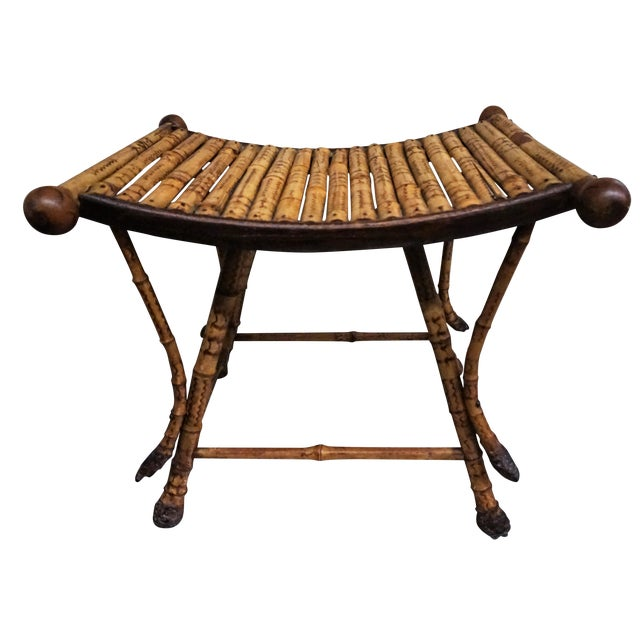 Victorian Burnt Bamboo Stool - Image 1 of 8