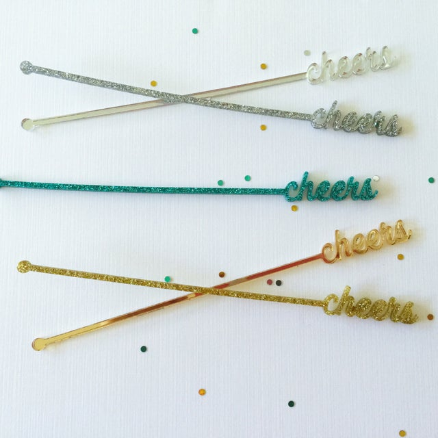 Green Glitter Cheers Drink Stirrers - Set of 6 - Image 4 of 6