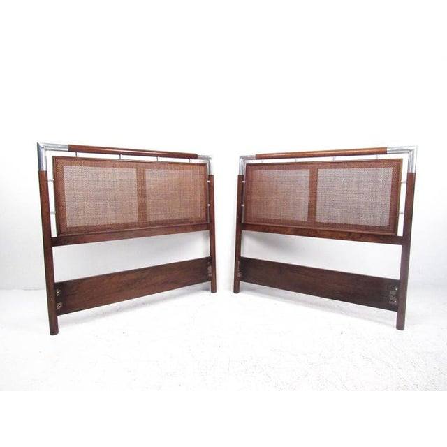 Mid-Century Cane and Chrome Twin Size Headboards - A Pair - Image 10 of 10