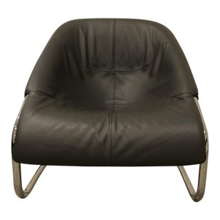 Minotti Cortina Leather Lounge Chair For Sale