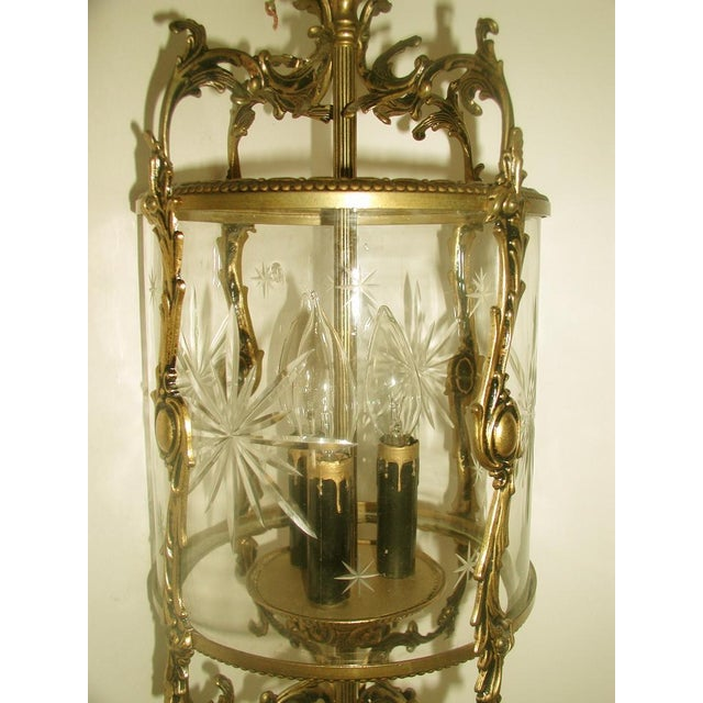 Etched & Rewired German Crystal/Bronze Fixture - Image 9 of 10