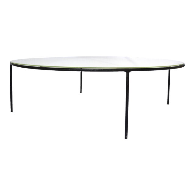 T.H. Robsjohn-Gibbings Milk Glass Top and Iron Coffee Table For Sale