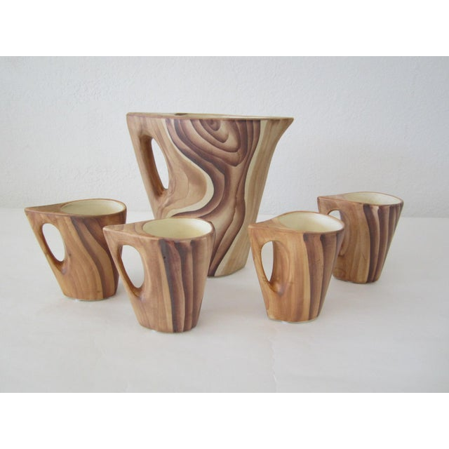 Contemporary 1950s Vallauris Faux Bois Ceramic Pitcher & Cups - Set of 7 For Sale - Image 3 of 9