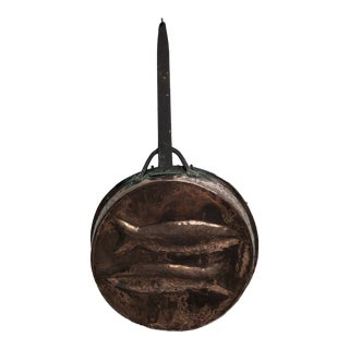 19th Century Antique Copper Embossed Fish Pan For Sale