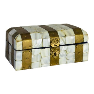 Vintage Mother of Pearl and Brass Inlay Chest Box For Sale