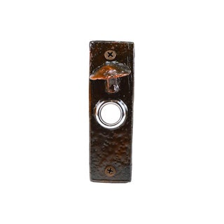 Slim Toadstool Doorbell with Traditional Patina For Sale