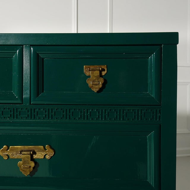 Gorgeous vintage Dixie dresser from the Shangri La collection. Dresser has been professionally lacquered Ben Moore Ocean...