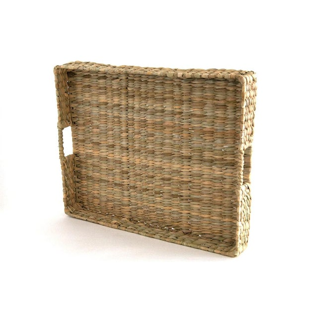 Wonderfully versatile natural rush tray handwoven for Sunah Home in Mexico. Two handles. Perfect on an ottoman coffee...