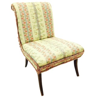 Vintage Slipper Chair with Rolled Back For Sale