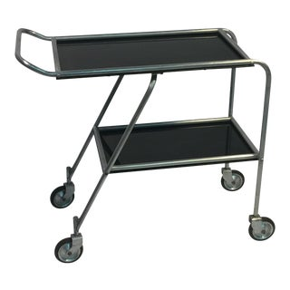 Aerodynamic Art Deco Aluminum & Black Bakelite Aero-Art Bar Cart