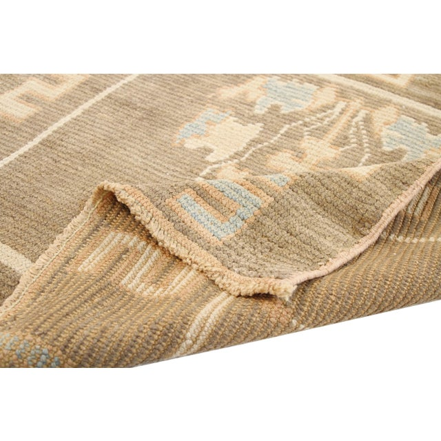 Traditional Turkish Donegal Blue & Beige Botanical Rug-4′ × 4′ For Sale - Image 3 of 5