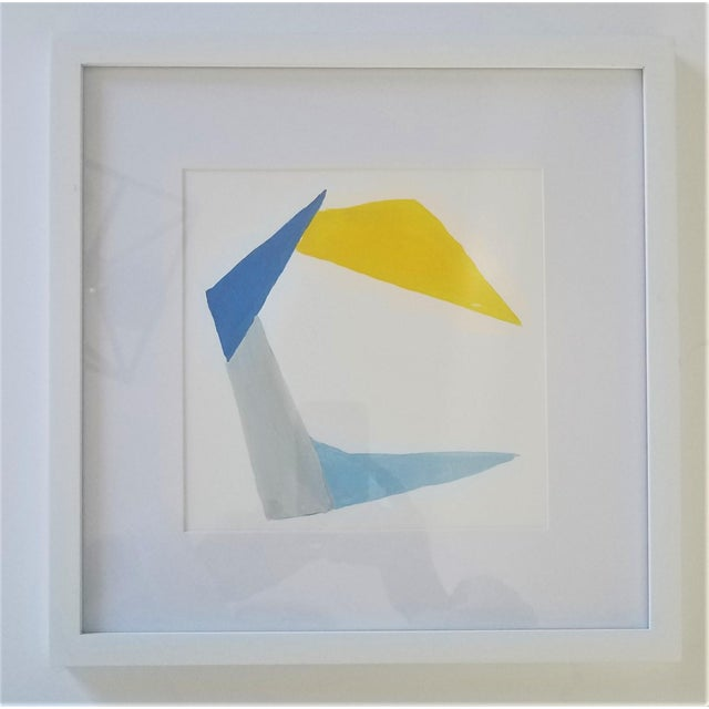 White Hand Painted Geometric Abstracts on Watercolor Paper Framed - 12 X12 - Set of 9 For Sale - Image 8 of 11