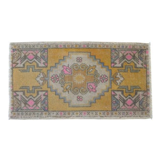 Distressed Low Pile Turkish Yastik Petite Pink Rug Hand Knotted Faded Mat - 19'' X 35'' For Sale