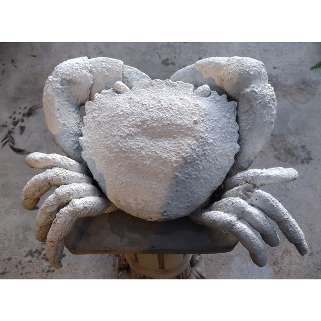 Vintage White Plaster Crab Garden Statue For Sale - Image 4 of 6