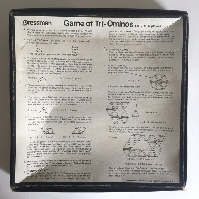 "Vintage 1970's Pressman "" Tri Ominoes "" Game Boxed Set For Sale In New York - Image 6 of 8"