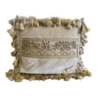 Vintage Velvet Pillow With Antique Vestment Panel & Silk Tassels For Sale