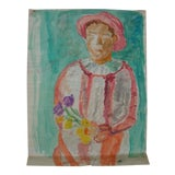 Image of Abstract Midcentury Modern Portrait Painting of a Clown For Sale