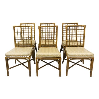 Vtg Chinese Chippendale Style Rattan Chairs For Sale