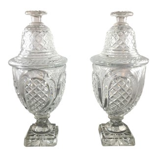 19th Century Vintage Crystal Covered Sweetmeat Urns - a Pair For Sale
