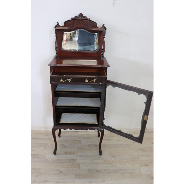 Bronze 19th Century English Mahogany Carved Antique Vitrine or Display Cabinet For Sale - Image 7 of 11