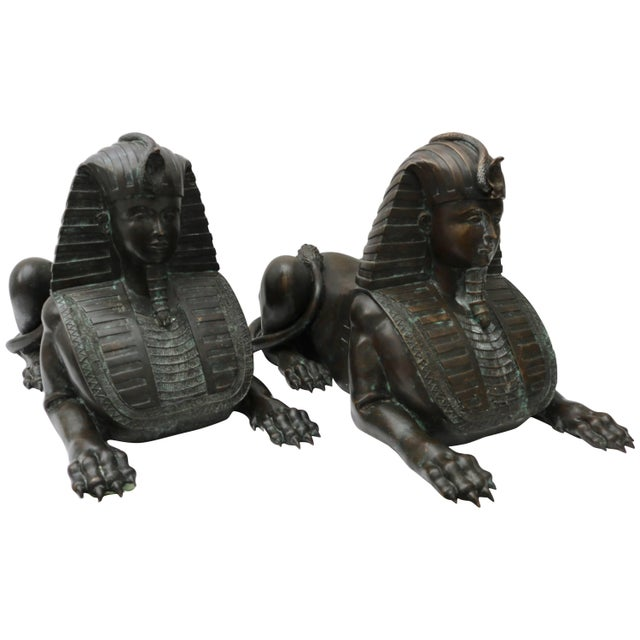 Circa 1850 French Empire Bronze Sphinx Sculptures - a Pair For Sale - Image 11 of 11