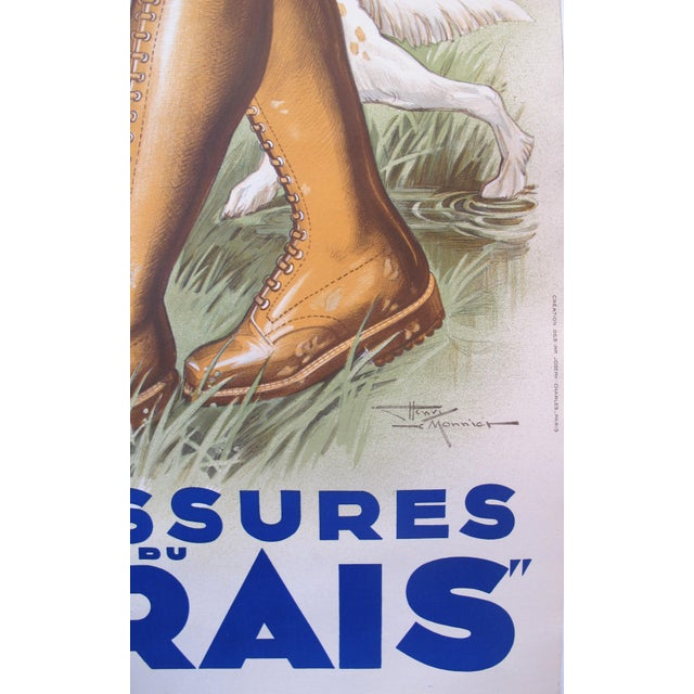 1930s French Art Deco Hunting Poster, Chaussures Du Marais For Sale - Image 4 of 4