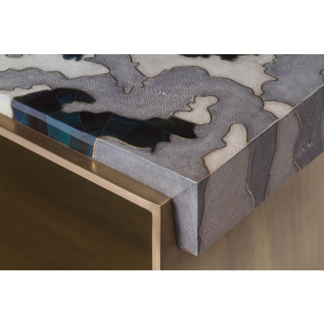 Metal Camouflage-Pattern Inlaid Stool / Mini Bench in Shagreen & Shell by R&y Augousti For Sale - Image 7 of 12
