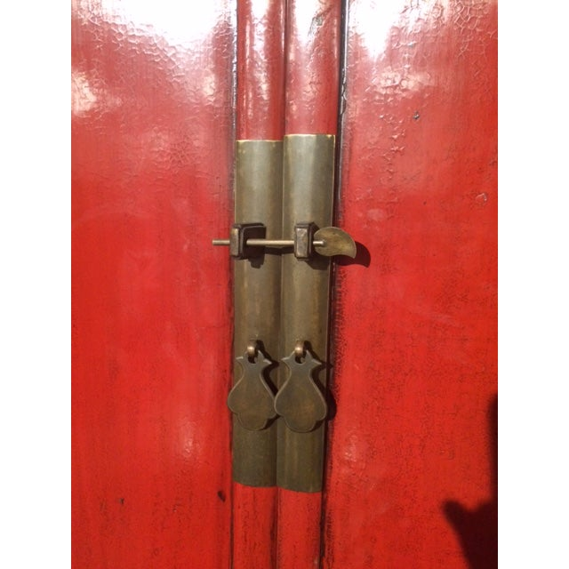 Antique Chinese Red & Black Armoire For Sale - Image 5 of 8