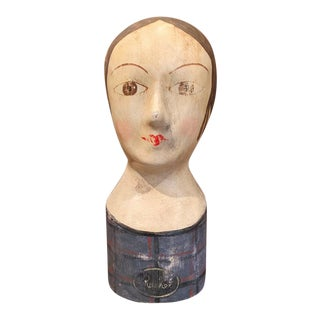 19th Century French Hand Painted Papier Mâché Marotte Bust For Sale