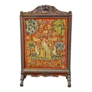 Antique Carved Walnut Victorian English Needlepoint Firescreen For Sale