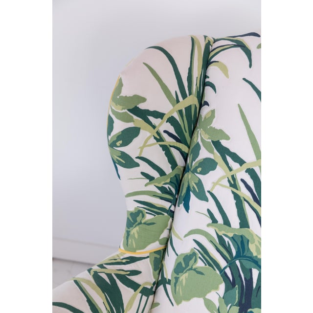 Green 1960s Vintage Palm Leaf Pattern Fabric Wingback Chair For Sale - Image 8 of 13