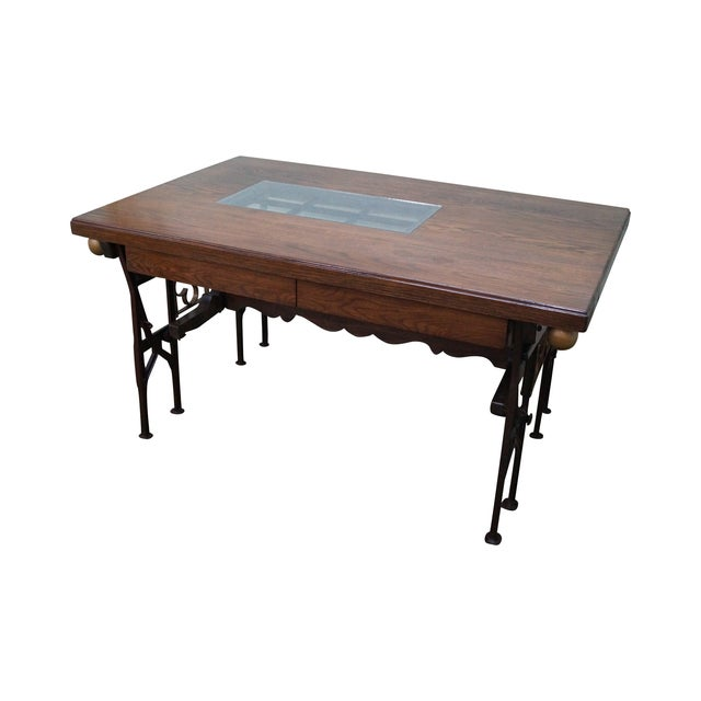 Hand Crafted Iron Base Gothic Writing Desk For Sale
