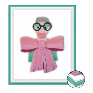 Iris with Big Pink Bow by Melvin G in Turquoise Acrylic Shadow Box, Small Art Print For Sale