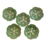 Image of Vintage Majolica Green Cabbage Salad Plates by Bordallo Pinheiro - Set of 5 For Sale