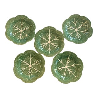 Vintage Majolica Green Cabbage Salad Plates by Bordallo Pinheiro - Set of 5 For Sale