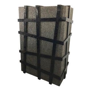 Carlo Furniture Black Terrazzo Stone and Black Sea Penshell Damar Cabinet For Sale