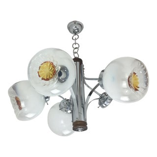 1960s Mid-Century Murano Mazzega Handblown Glass Chandelier For Sale
