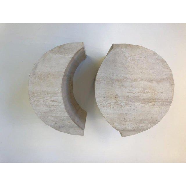 Oval Italian Travertine Cocktail Table by Willy Rizzo For Sale - Image 9 of 11