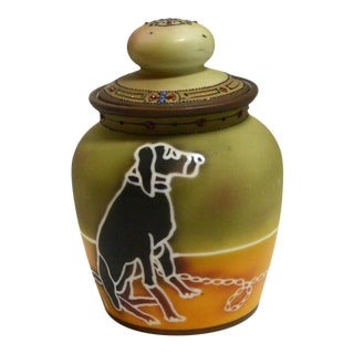 Vintage Nippon Humidor With Dog and Moriage Detailing For Sale