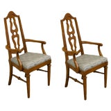 Image of Mount Airy Furniture Country French Splat Back Dining Arm Chairs- A Pair For Sale