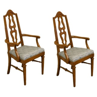 Mount Airy Furniture Country French Splat Back Dining Arm Chairs- A Pair For Sale