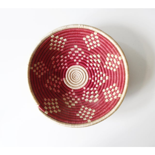 Vintage Geometric Woven Basket Tray Wall Hanging Round Tribal - Image 2 of 4