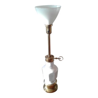 Stiffel Brass & Crackle Glaze Ceramic Torchiere Table Lamp For Sale