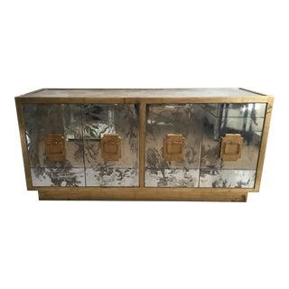 World's Away Mirrored Gold 4-Door Credenza For Sale