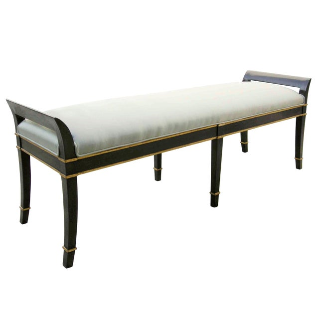 Item #: 9013 - Sutton Place Bench Finish: Gloss Ebonized Walnut with Gilt Accents Fabric: 2 Yards Plain - C.O.M....