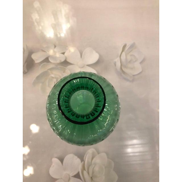 Mid Century Modern Baccarat Green Crystal Ribbed Baluster Form Vase - Image 3 of 6